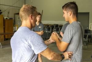 Jim Leo (left) demonstrates some fitness techniques