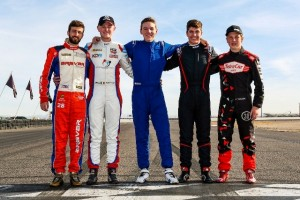 The five MRTI Shootout finalists, l. to r.: Olin Galli from Brazil, the winner Keith Donegan from Ireland, me, Jake Craig from California and Liam Lawson from New Zealand. Photo courtesy of Ignite media.