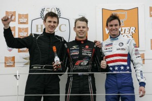 On the podium with Stephen Daly (left) and Scott Andrews (Jack Mitchell/JAM Motorsport Photography)
