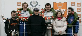 The Grand Final podium with Sir Jackie Stewart and Elizabeth Hayes.