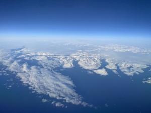 Greenland from 35,000 feet.