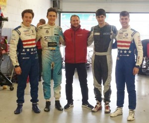 L. to R.: CDR teammates Colin Mullan, Nico Gruber, ace driver coach James Theodore, James Clarke and me at Silverstone