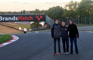 During our track walk today at Brands Hatch with Team Canada's Parker Thompson.