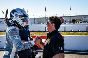 It was cool to have Michael Andretti offer his congratulations after I took the pole in St. Petersburg.
